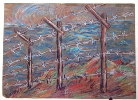 barbed wired, pastel