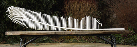 white feather bench